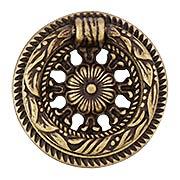 Rococo Design Single Post Pull In Cast Brass - 2