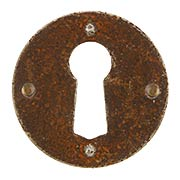 Steel Cabinet Keyhole Cover In Distressed Rust Finish (item #R-08RM-30995-03000-27)
