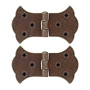 Pair of Antique-Rust Cabinet Hinges - 2-Inch H x 3 1/2-Inch W (item #R-08RM-48033-08800-27)