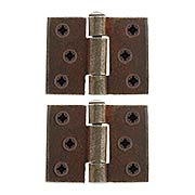 Pair of Antique-Rust Square Corner Cabinet Hinges - 2-Inch x 1 5/8-Inch (item #R-08RM-48045-05000-27)