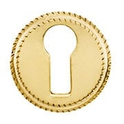 Round Notched-Border Brass Keyhole Cover (item #R-08SE-0150001)