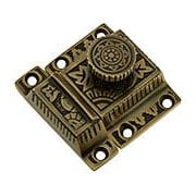 Solid Brass Oriental-Pattern Turn Latch in Antique By Hand (item #R-08SE-0600010-ABH)