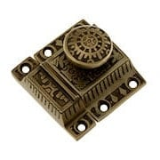 Solid-Brass Windsor Pattern Cabinet Latch with Round Knob in Antique-By-Hand (item #R-08SE-0600014-ABH)