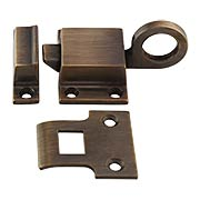 Solid-Brass Transom Window Latch with Box Strike in Antique-By-Hand (item #R-09BM-8705-ABH)