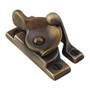 Solid-Brass Crescent Sash Lock in Antique-By-Hand (item #R-09BM-8708-ABH)
