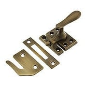 Large Solid-Brass Casement Latch In Antique-By-Hand (item #R-09BM-8711-ABH)