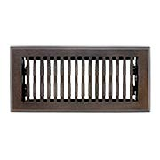 Solid Bronze Mid-Century Style Floor Register With Dark Distressed Finish (item #RS-010HC-HVF-BPX)