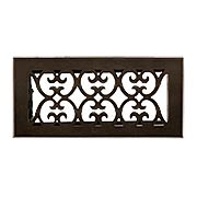Solid Bronze Scroll Design Floor Register With Dark Distressed Finish (item #RS-010HC-HVT-BPX)