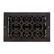 Solid Bronze Scroll Design Wall Register With Dark Distressed Finish (item #RS-010HC-WVT-210X)