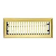 Mid Century Style Solid Brass Floor Register - With Adjustable Louver (item #RS-010Z-20201X)