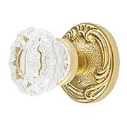 Lafayette Rosette Door Set With Fluted Crystal Glass Knobs (item #RS-01BA-D02-K286A-VCTX)