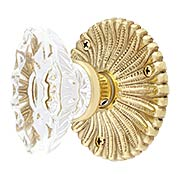 Hollywood Regency Door Set With Fluted Oval Crystal Glass Knobs (item #RS-01BA-D05-K142A-SVNX)