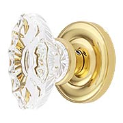 Colonial Rosette Door Set With Fluted Oval Crystal Glass Knobs (item #RS-01BA-D07-K360A-SVNX)