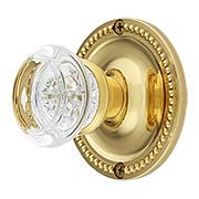 Large Beaded Rosette Door Set with Round Glass Knobs (item #RS-01BM-8853-8875X)