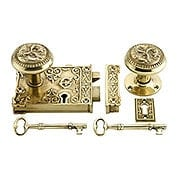 Late Victorian Style Rim Lock Set In Polished or Unlacquered Brass (item #RS-01DC-02004813X)