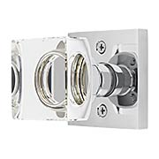 Square Rosette Door Set with Square Crystal-Glass Knobs (item #RS-01EM-5110MSCX)