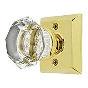 Quincy Rosette Door Set with Old Town Crystal Glass Knobs (item #RS-01EM-8131OTX)