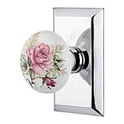 New York Rosette Door Set with Rose Porcelain Knobs (item #RS-01NW-710931X)