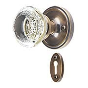 Classic Rosette Mortise-Lock Set with Ovolo Crystal-Glass Knobs in Antique-By-Hand (item #RS-01NW-747202-ABH)