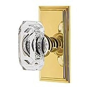 Grandeur Carre Rosette Door Set with Clear Crystal-Glass Baguette Knobs (item #RS-01NW-CARBCCX)