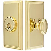 Grandeur Single-Cylinder Deadbolt with Carre Plates (item #RS-01NW-CARX)