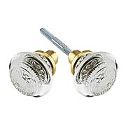 Pair of Egg & Dart Crystal-Glass Door Knobs (item #RS-01NW-CEDX)