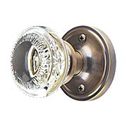 Classic Rosette Door Set with Ovolo Crystal-Glass Knobs in Antique-By-Hand (item #RS-01NW-CLACAE-ABHX)