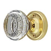 Classic Rosette Door Set with Ovolo Crystal-Glass Knobs (item #RS-01NW-CLACAEX)