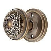 Classic Rosette Door Set with Egg & Dart Knobs in Antique-By-Hand (item #RS-01NW-CLAEADX-ABH)