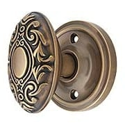 Classic Rosette Door Set with Decorative Oval Knobs in Antique-By-Hand (item #RS-01NW-CLAVICX-ABH)