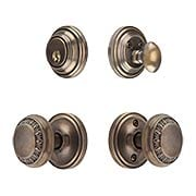 Classic Rosette Entry Set with Ovolo Knobs in Antique-By-Hand (item #RS-01NW-CP-CLAAED-ABHX)