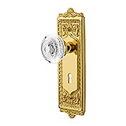 Egg & Dart Door Set with Keyhole and Matching Crystal-Glass Knobs (item #RS-01NW-EADCEDKX)