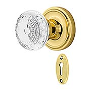 Classic Rosette Mortise-Lock Set with Meadows Crystal-Glass Knobs (item #RS-01NW-MCLACMEX)