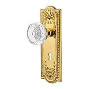 Meadows Door Set with Keyhole and Matching Crystal-Glass Knobs (item #RS-01NW-MEACMEKX)