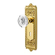 Egg & Dart Mortise-Lock Set with Matching Crystal-Glass Knobs (item #RS-01NW-MEADCEDX)