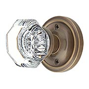 Classic Rosette Door Set with Waldorf Crystal Glass Knobs in Antique-By-Hand (item #RS-01NW-PROSEWX-ABH)