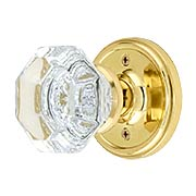 Classic Rosette Door Set With Waldorf Crystal Glass Door Knobs (item #RS-01NW-PROSEWX)