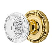 Rope Rosette Door Set with Meadows Crystal-Glass Knobs (item #RS-01NW-ROPCMEX)