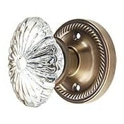 Rope Rosette Door Set with Oval Fluted Crystal Glass Knobs in Antique-By-Hand (item #RS-01NW-ROPOFCX-ABH)