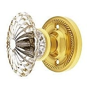 Rope Rosette Door Set with Oval Fluted Crystal Glass Knobs (item #RS-01NW-ROPOFCX)
