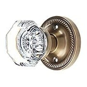 Rope Rosette Door Set with Waldorf Crystal Glass Knobs in Antique-By-Hand (item #RS-01NW-RROSEWX-ABH)