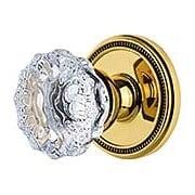 Grandeur Soleil Rosette Door Set with  Fontainebleau Crystal-Glass Knobs (item #RS-01NW-SOLFONX)