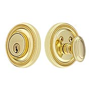 Grandeur Single-Cylinder Deadbolt with Soleil Plates (item #RS-01NW-SOLX)