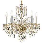 Traditional Crystal 5 Light Chandelier (item #RS-03CR-1005-PB-CL-MWP)