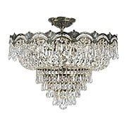 Majestic Large Semi-Flush Crystal Ceiling Light In Historic Brass Finish (item #RS-03CR-1485-HB-CL-MWP)