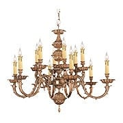 English Baroque 12 Light Chandelier In Olde Brass (item #RS-03CR-2412-OB)