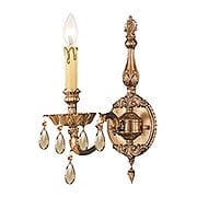 Novella Single Sconce With Golden Teak Crystals In Olde Brass (item #RS-03CR-2501-OB-GT-MWP)