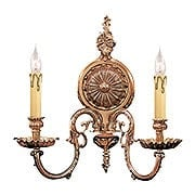 English Baroque 2 Light Sconce In Olde Brass (item #RS-03CR-2602-OB)