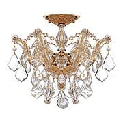 Maria Theresa Small Semi Flush Mount With Clear Crystals In Gold or Chrome Finishes (item #RS-03CR-4430X)