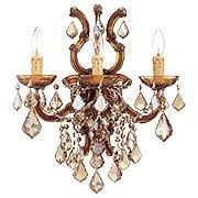 Maria Theresa Wall Sconce With Golden Teak Crystals In Antique Brass (item #RS-03CR-4433-AB-GT-MWP)